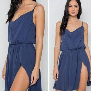 Dresses & Skirts - Navy Cowl Neck Side Slit Mini Dress